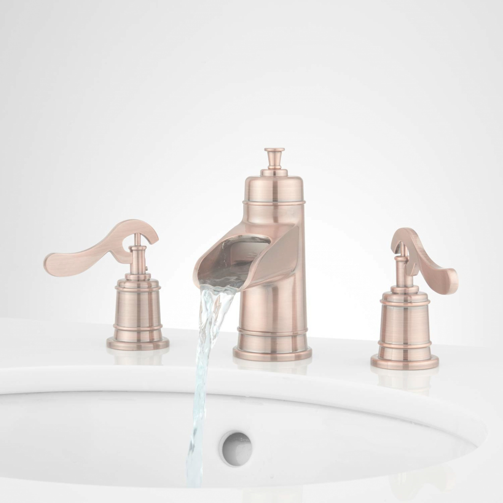 Cool Melton Widespread Waterfall Bathroom Faucet - Bathroom within New Copper Faucet Bathroom