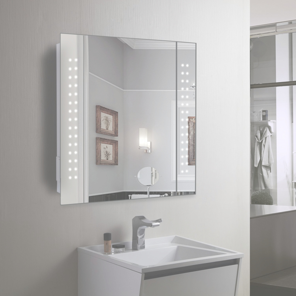 Cool Miraculous Mirror Cabinet 60 Led Light Illuminated Bathroom On From throughout Bathroom Mirror Cabinet