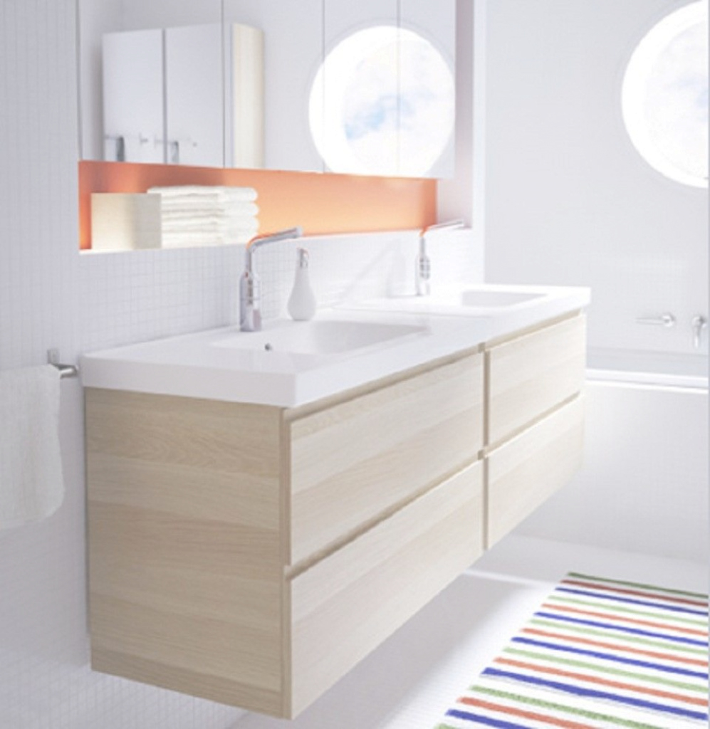 Cool Modern Wall Mounted Bathroom Vanity With Double Drawers And Under with Ikea Sink Bathroom