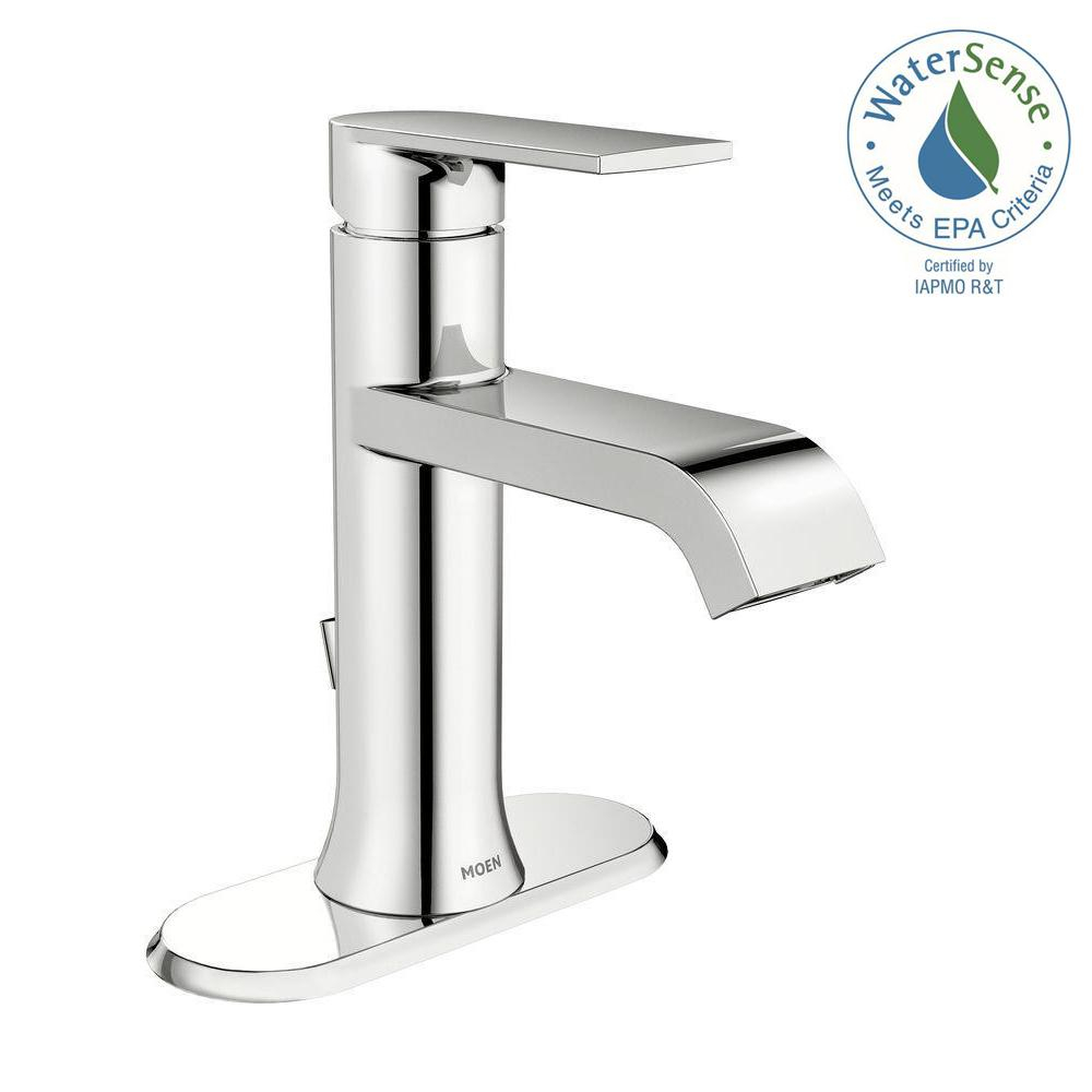 Cool Moen Genta Single Hole Single-Handle Bathroom Faucet In Chrome with regard to Moen Bathroom Sink Faucets