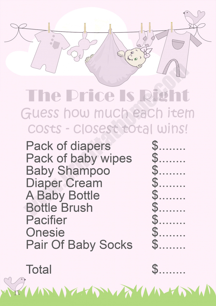 Cool Purple Washing Line Baby Shower Package inside Beautiful Baby Shower Price Is Right