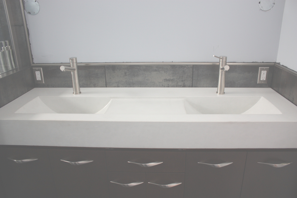 Cool Rectangle Double White Concrete Sink And Steel Faucet Over Black with Trough Sinks For Bathrooms