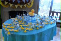 Cool Rubber Ducky Baby Shower Table Decor Lovely Rubber Duck Themed Baby throughout Baby Shower Table Decorating Ideas