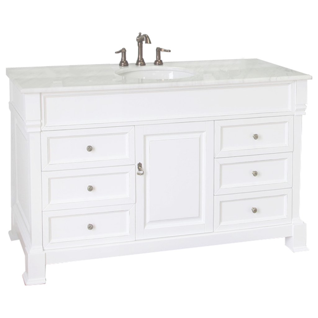 Cool Shop Bellaterra Home White (Rub Edge) Single Sink Vanity With White for Bathroom Vanity 60 Single Sink