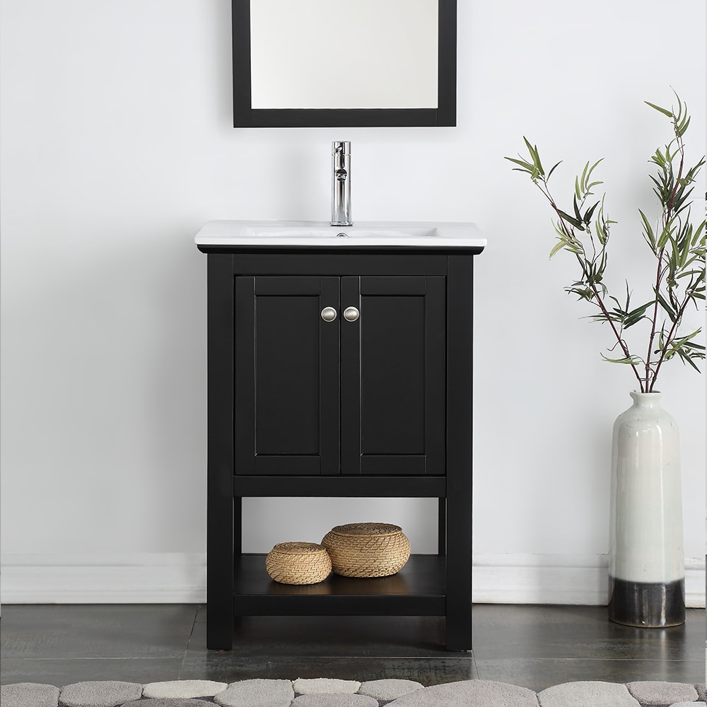 "Cool Shop Fresca Manchester 24"" Black Traditional Bathroom Vanity - Free pertaining to Awesome Traditional Bathroom Vanity"