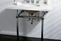 Cool Shop White Quartz 36-Inch Wall-Mount Pedestal Bathroom Sink Vanity with regard to Review Bathroom Sink And Vanity