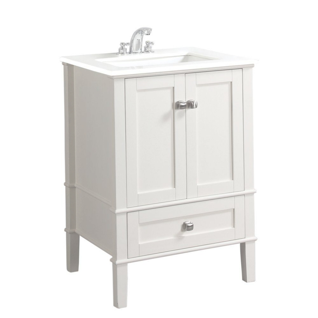 Cool Simpli Home Chelsea 24 In. Vanity In Soft White With Quartz Marble pertaining to Elegant White Bathroom Vanity Home Depot