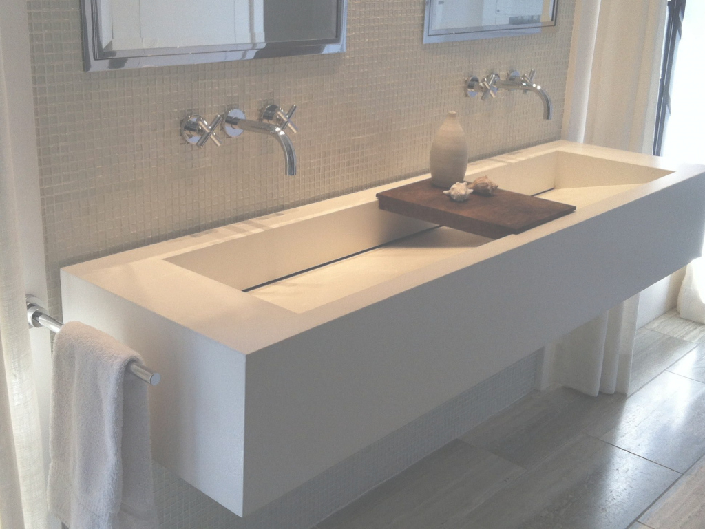 Cool Sophisticated White Commercial Trough Sink With Wooden Soap Dish As throughout Trough Sink Bathroom
