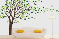 Cool Tree Wall Decals Brown Tree Blowing In The Wind Vinyl Wall Sticker throughout Tree Wall Decals For Living Room