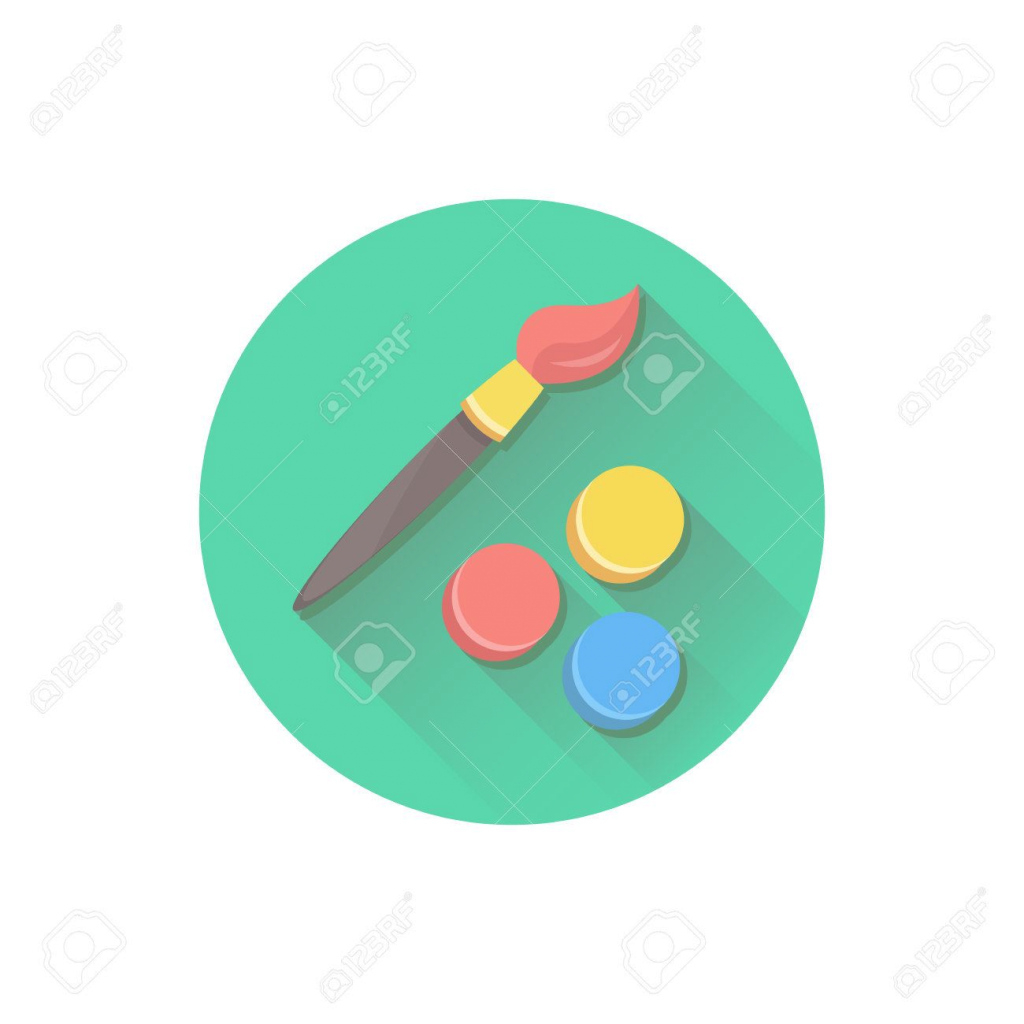 Cool Vector Paint Brush And Color Palette Icon Royalty Free Cliparts within Elegant Color Palette Icon