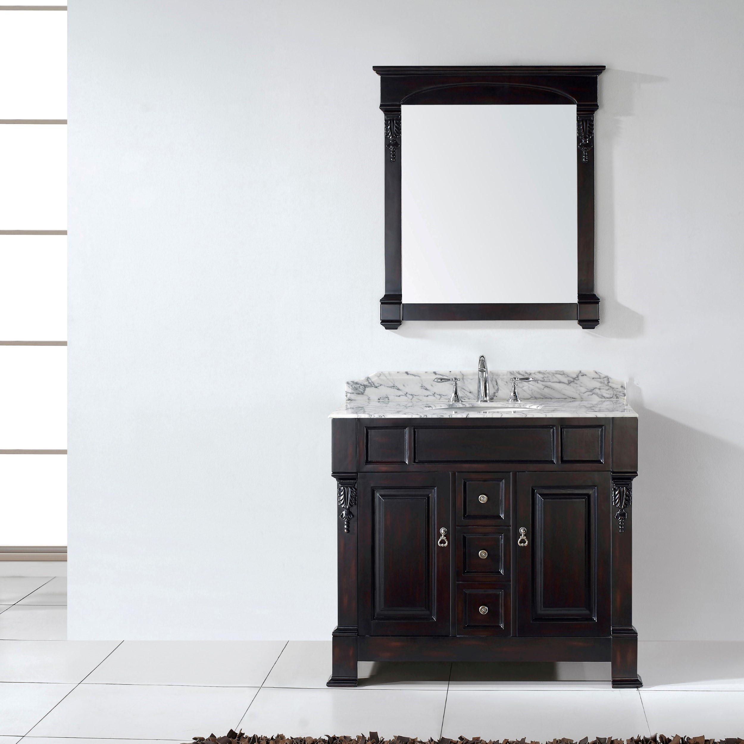 Cool Virtu Usa Huntshire 40 Single Bathroom Vanity Set In Dark Walnut throughout Beautiful Dark Bathroom Vanity