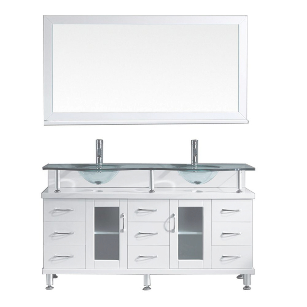 Cool Virtu Usa Vincente 59 In. W Bath Vanity In White With Glass Bath regarding Bathroom Vanity Set With Mirror