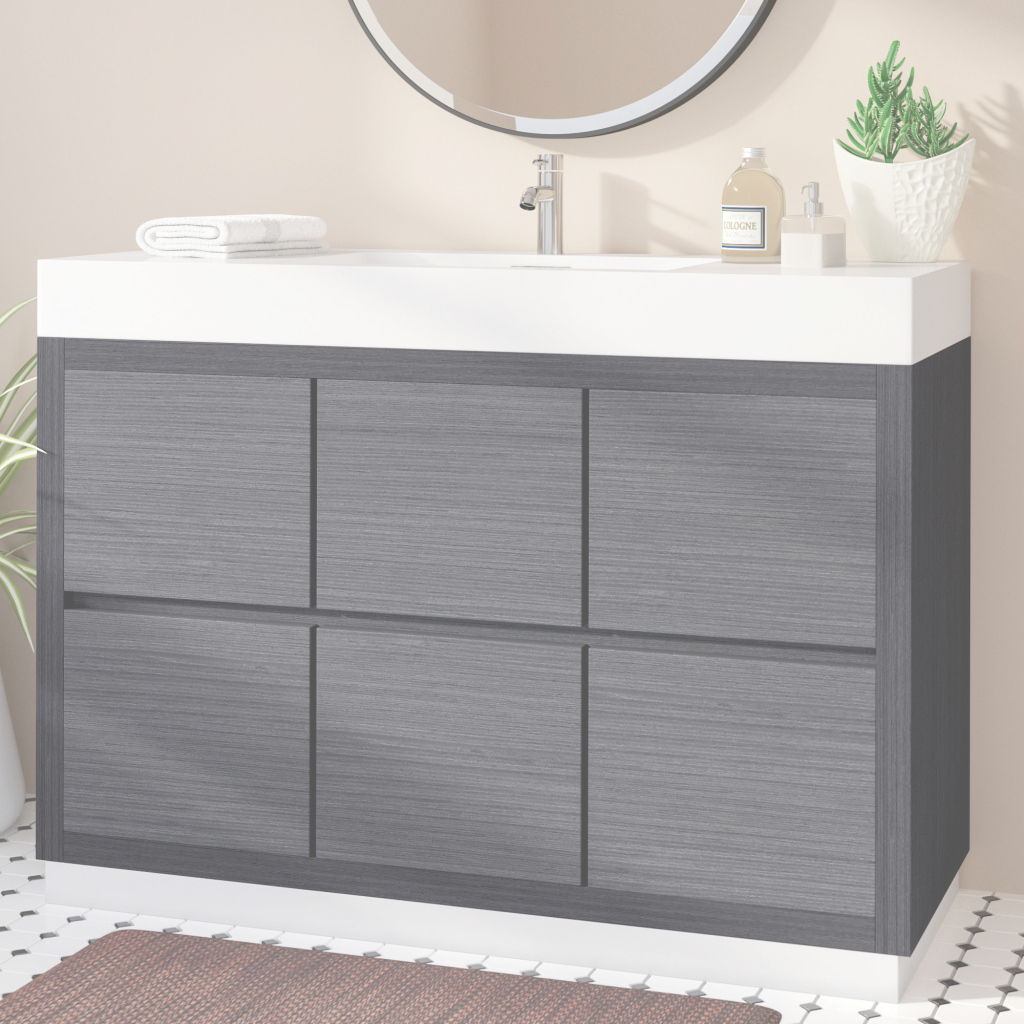 "Cool Wade Logan Tenafly 48"" Single Free Standing Modern Bathroom Vanity in Free Standing Bathroom Vanity"