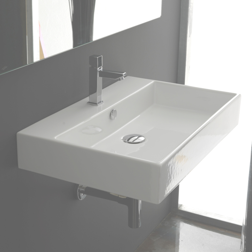 "Cool Ws Bath Collections Ceramica Ii Unlimited Ceramic 24"" Wall Mount throughout Unique Wall Mount Bathroom Sink"