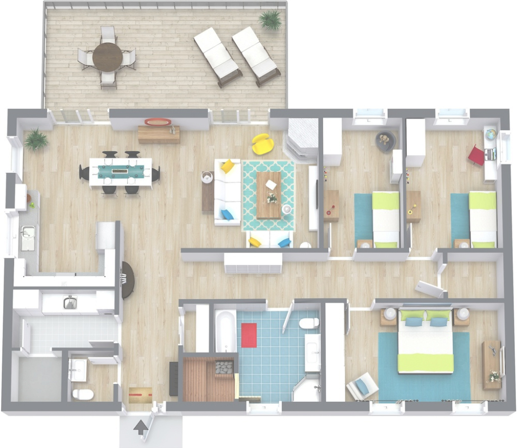 Elite 3 Bedroom Floor Plans | Roomsketcher in Beautiful Small Three Bedroom House Plans