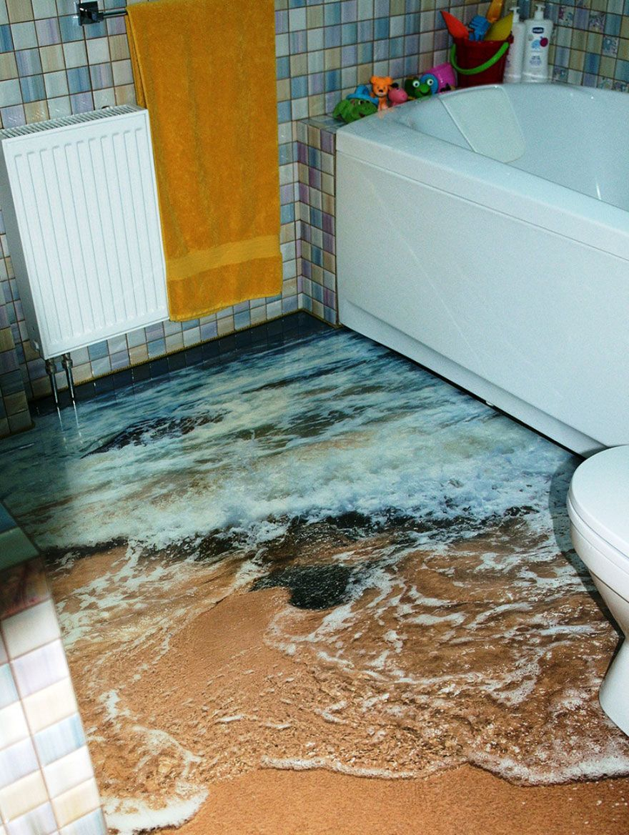 Elite 3D Floors Turn Your Bathroom Into An Ocean | Pinterest | Coral Reefs in Epoxy Bathroom Floor