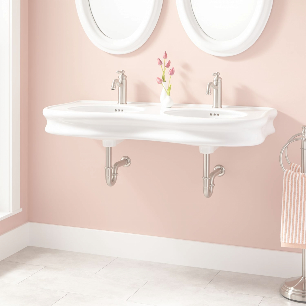 "Elite 46"" Adler Double-Bowl Porcelain Wall-Mount Bathroom Sink - Bathroom for Bowl Bathroom Sink"