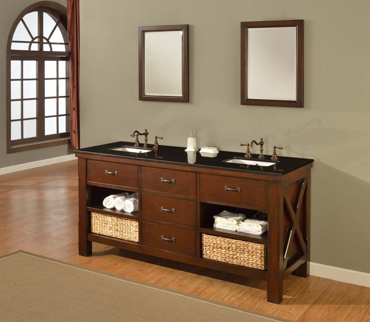 "Elite 70"" Mission Double Bathroom Vanity Sink Console. Direct To You Furniture inside Best of Furniture Style Bathroom Vanities"