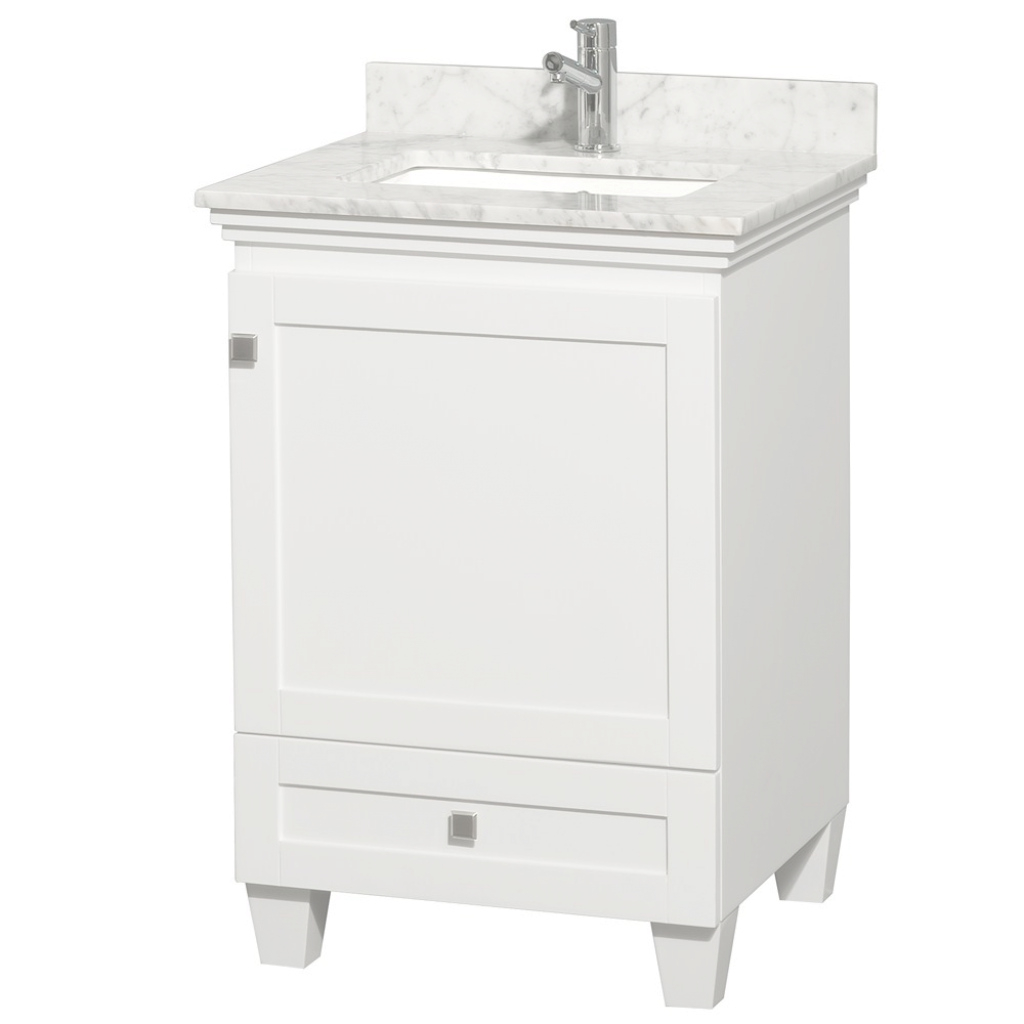 "Elite Acclaim 24"" White Bathroom Vanity Set, Solid Oak Vanity Blends for New Small White Bathroom Vanity"