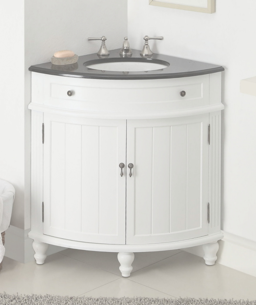 Elite Adelina 24 Inch Corner Antique Bathroom Vanity White Wood Finish throughout Beautiful 24 Bathroom Vanity And Sink