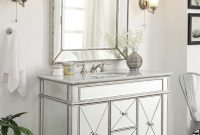 Elite Adelina 44 Inch Mirrored Bathroom Vanity Cabinet, Fully Assembled with Review Bathroom Vanity Cabinet