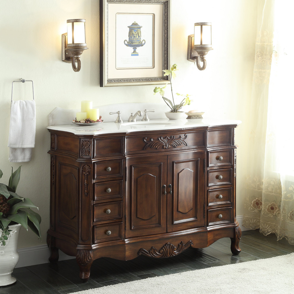 Elite Adelina 48 Inch Old Fashioned Look Bathroom Vanity, Fully Assembled for Traditional Bathroom Vanity