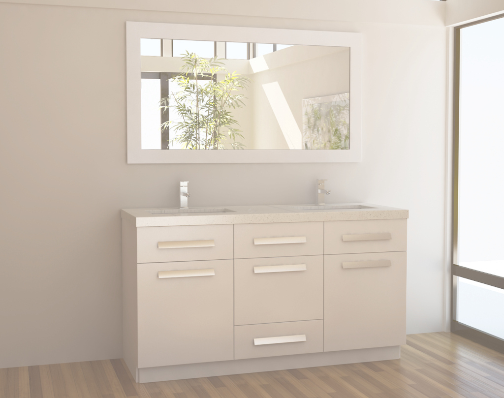 Elite Adorna 60 Inch White Double Sink Bathroom Vanity In White Set pertaining to 60 Inch Single Sink Bathroom Vanity