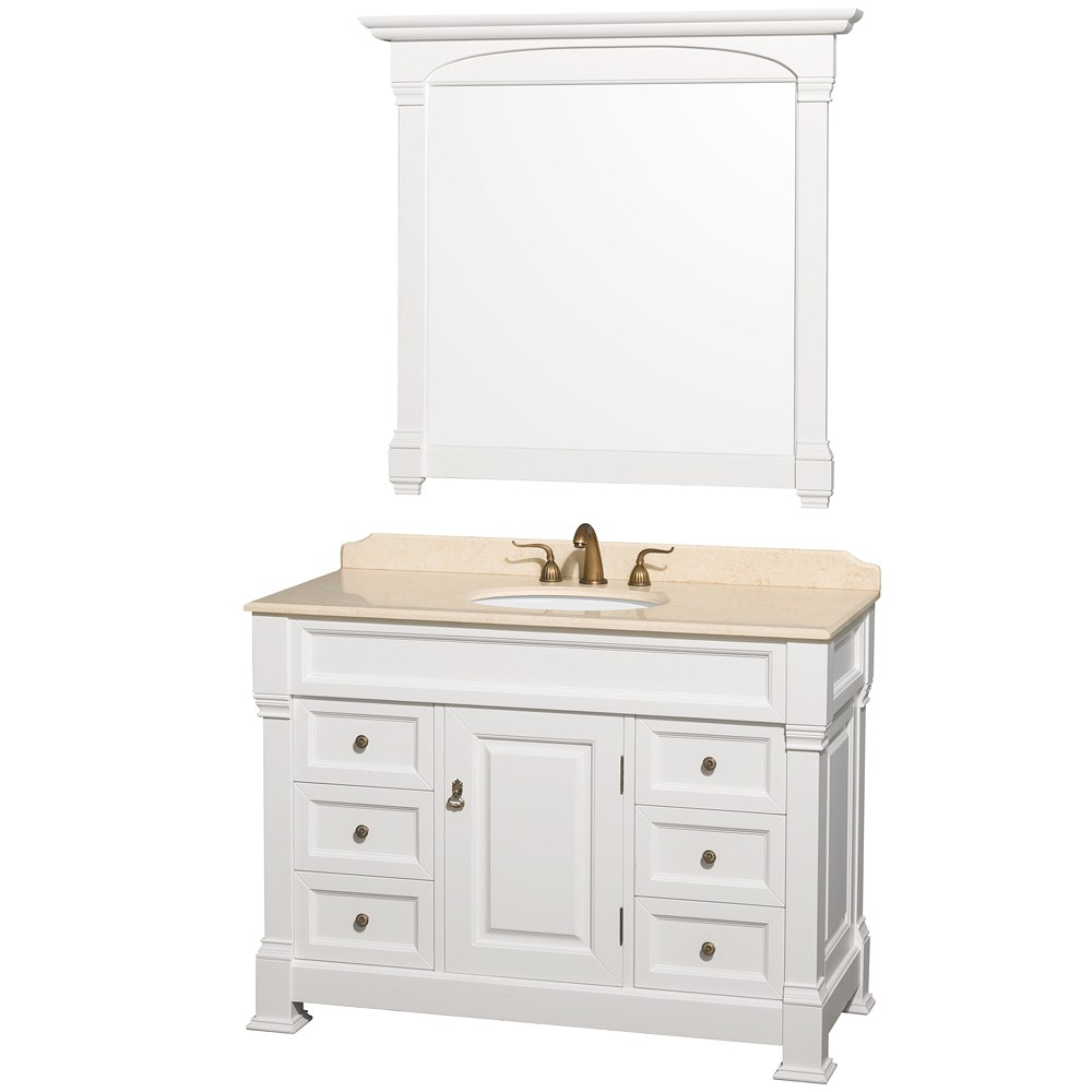 "Elite Andover 48"" White Traditional Bathroom Vanity Set for Awesome Traditional Bathroom Vanity"