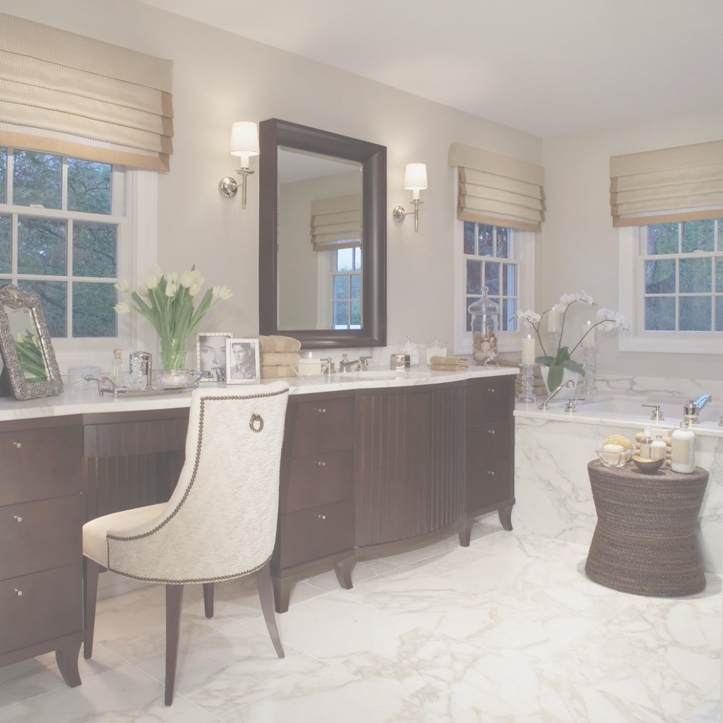 Elite Angelic Decorating Ideas Using Brown Roman Shades And Rectangular In pertaining to Beautiful Vanity Chair For Bathroom