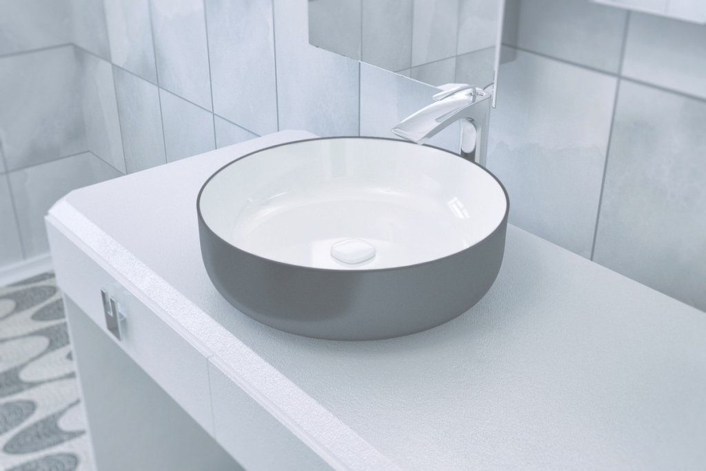 Elite Aquatica Metamorfosi-Black-Wht Round Ceramic Bathroom Vessel Sink for Bathroom Vessel Sinks