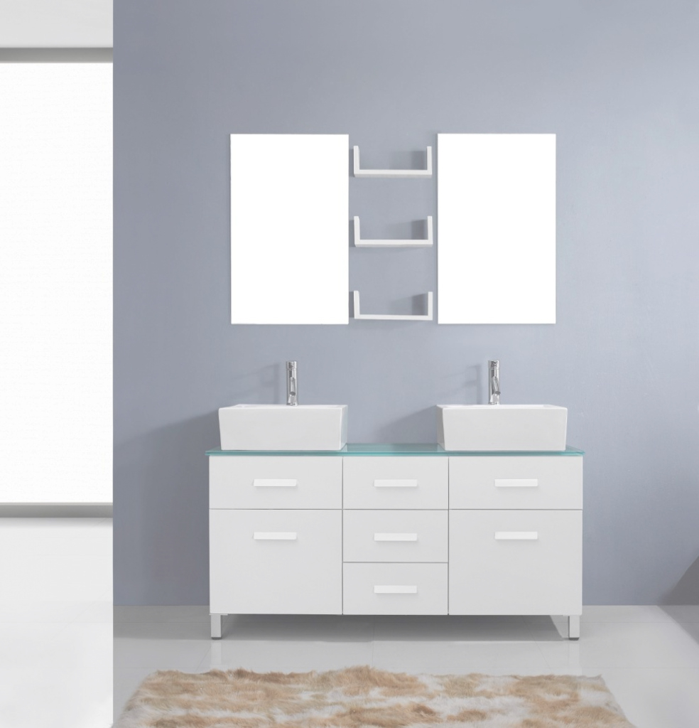 Elite Avola 56 Inch Modern Double Sink Bathroom Vanity White Finish with Awesome Bathroom Vanities Sacramento