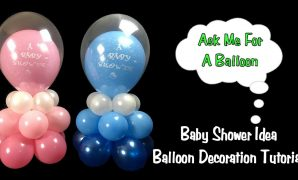 Elite Baby Shower Balloon Decoration Idea - Balloon Centerpiece Tutorial in Unique Baby Shower Balloon Centerpieces