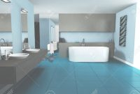 Elite Bathroom Interior Design With Contemporary Furniture Colored.. Stock with regard to Blue Bathroom Interior Design