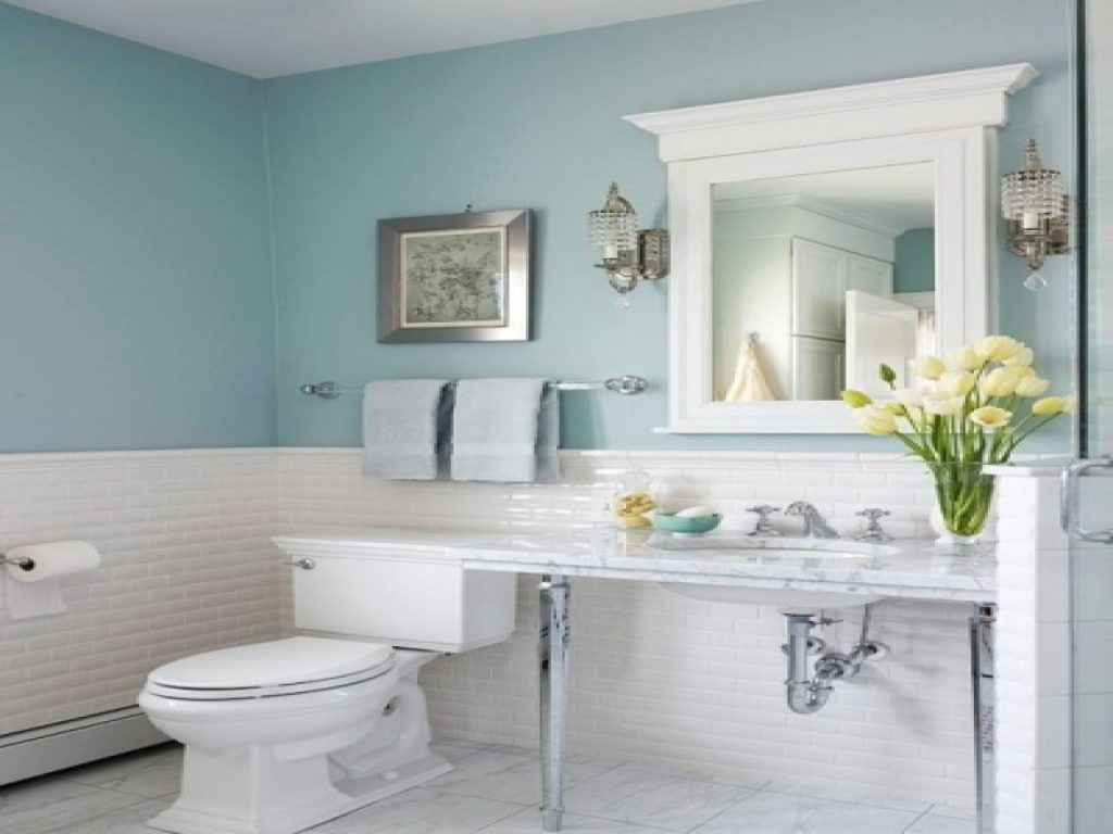 Elite Blue Bathroom Decor Light Photo Frost Accessories And Brown Bullnose with Elegant Light Blue Bathroom Decor
