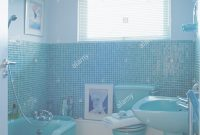 Elite Blue Mosaic Tiled Bathroom With Blue Bath, Basin And Toilet Stock throughout Best of Blue Mosaic Bathroom