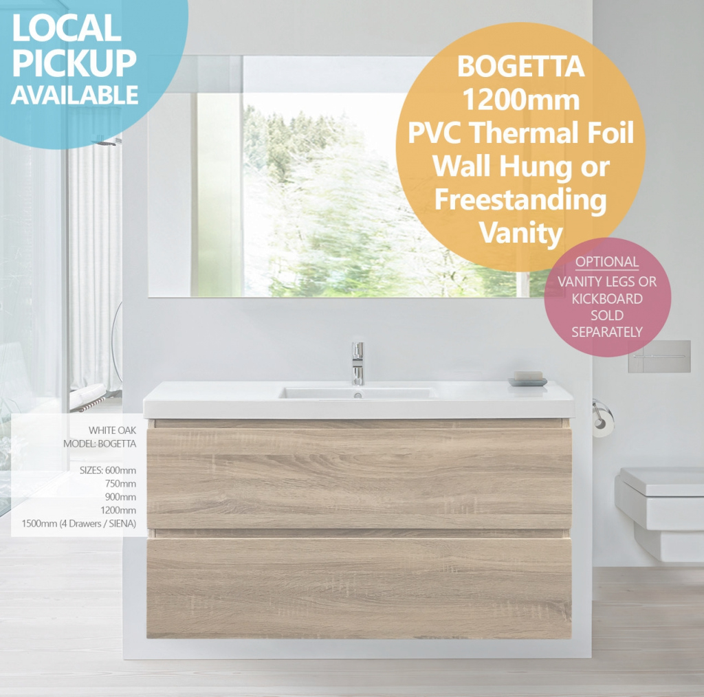 Elite Bogetta | 1200Mm White Oak Pvc Thermal Foil Wall Hung/freestanding with Free Standing Bathroom Vanity