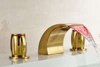 Elite Buy Led Colors Waterfall Bathroom Basin Faucet 3 Holes Sink Mixer inside Gold Faucet Bathroom