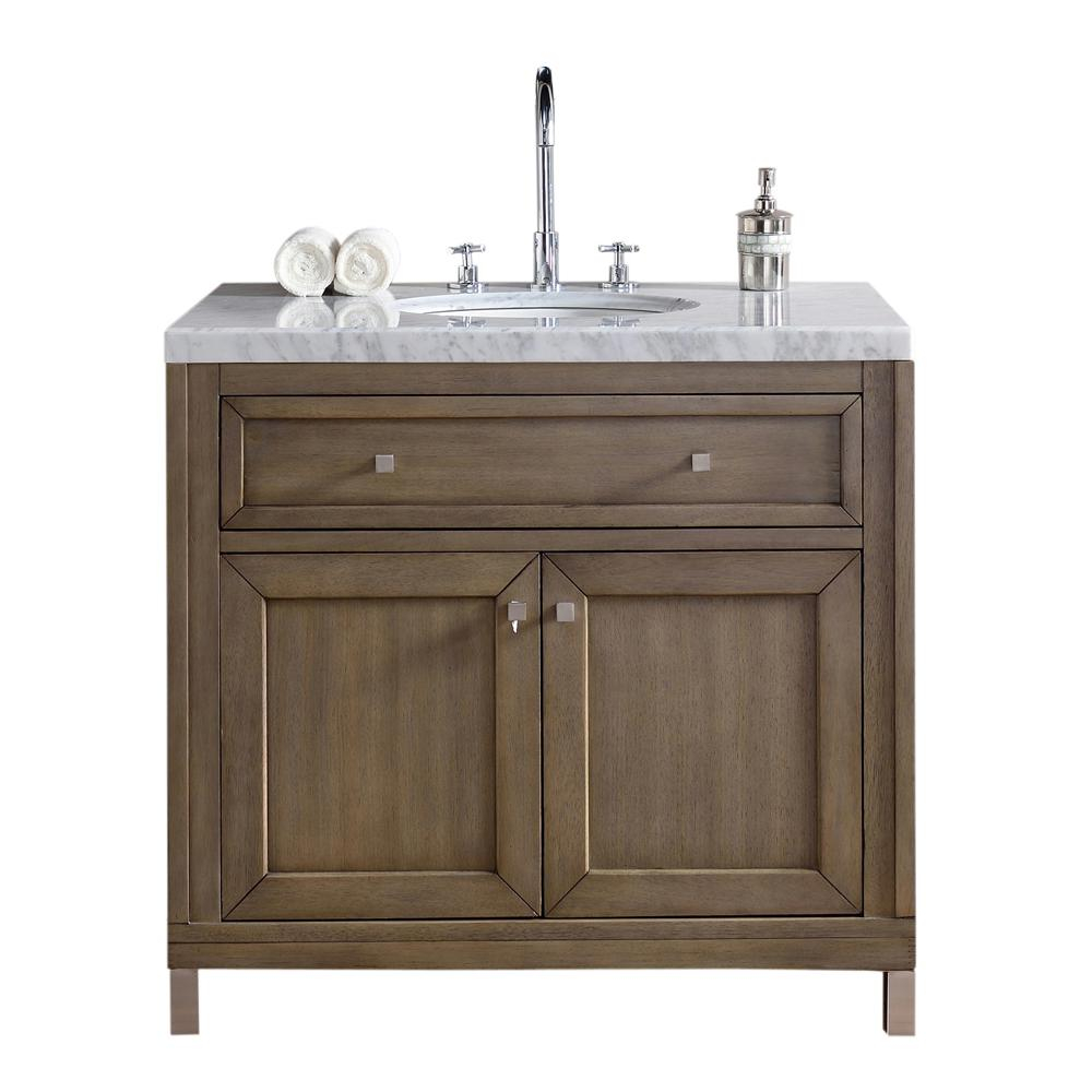 Elite Chicago 36 In. W Single Vanity In Whitewashed Walnut With Marble with 36 In Bathroom Vanity With Top