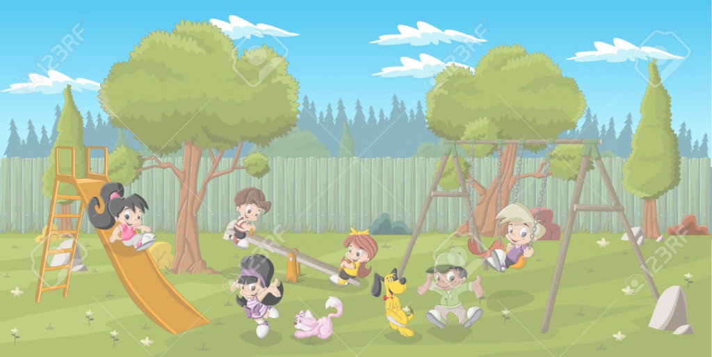 Elite Cute Happy Cartoon Kids Playing In Playground On The Backyard inside Backyard Cartoon