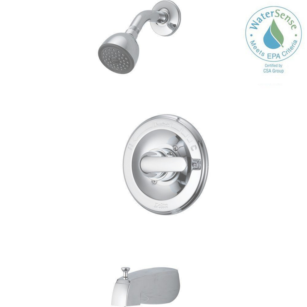 Elite Delta Classic Single-Handle 1-Spray Tub And Shower Faucet In Chrome regarding Delta Bathroom Shower Faucets