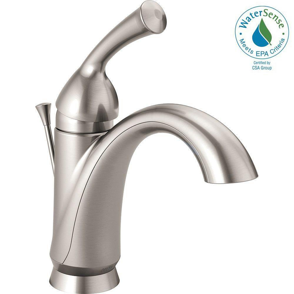 Elite Delta Haywood Single Hole Single-Handle Bathroom Faucet In Stainless in Review Bathroom Faucet Handles