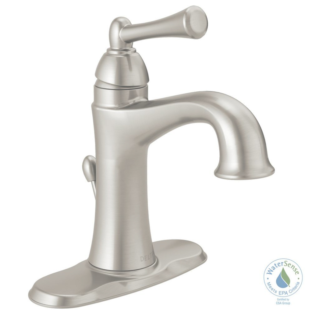 Elite Delta Rila 4 In. Centerset Single-Handle Bathroom Faucet In throughout Satin Nickel Bathroom Faucet