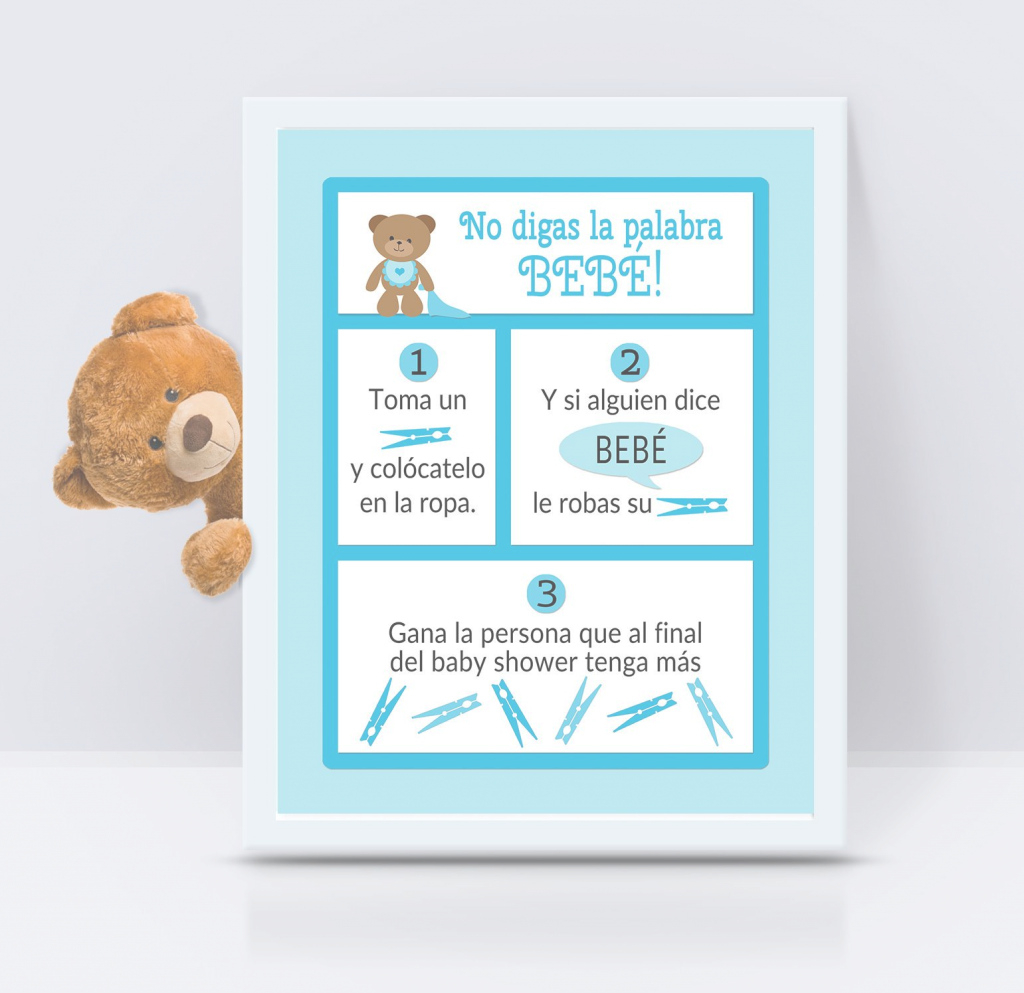 Elite Dont Say Baby Spanish - Baby Shower Game - Size 8 X 10 - 3 Different with regard to How Do You Say Baby Shower In Spanish
