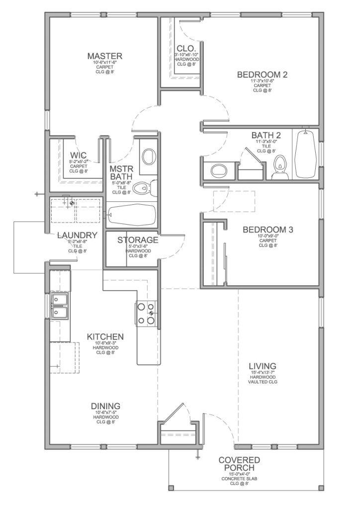 Elite Floor Plan For A Small House 1,150 Sf With 3 Bedrooms And 2 Baths for House Plan Drawing