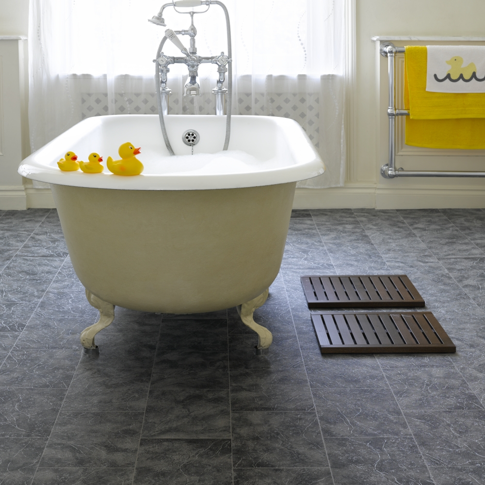 Elite Flooring Ideas: Grey Bathroom Cork Flooring And White Clawfoot inside Fresh Cork Flooring Bathroom