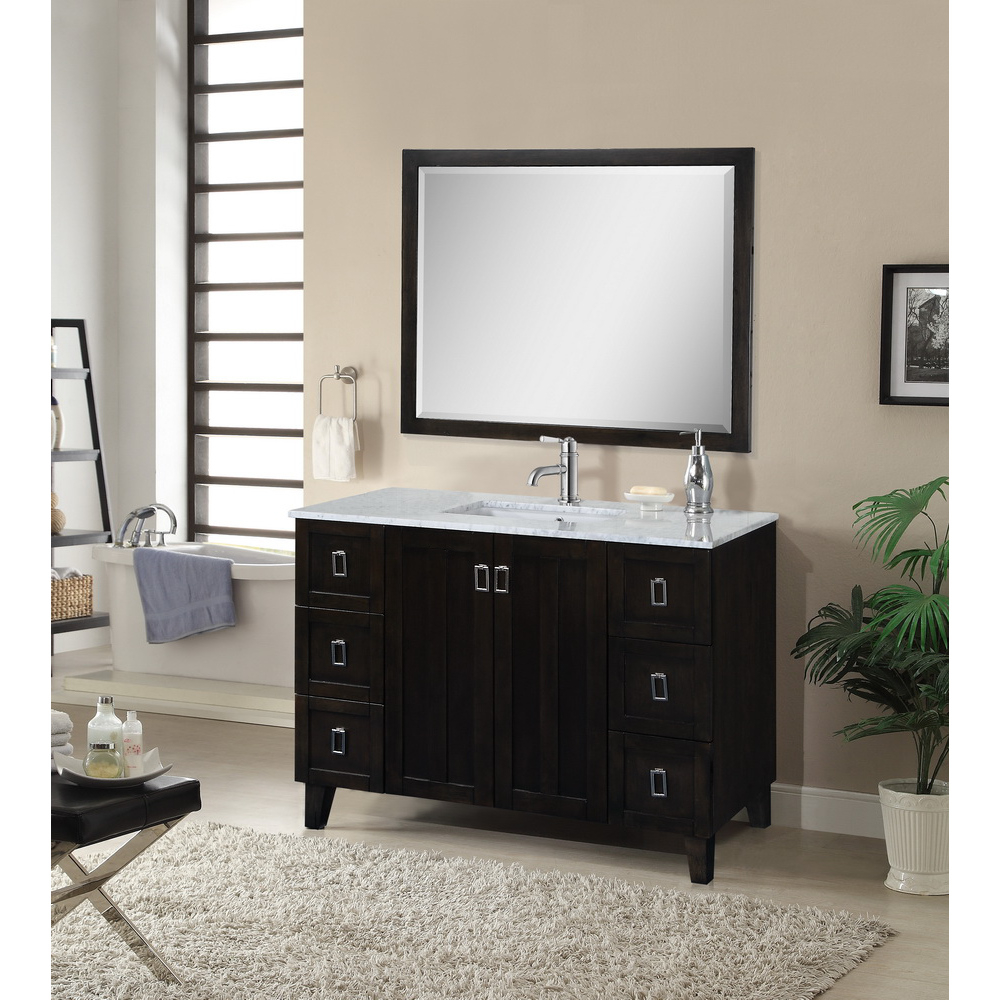 Elite In Series 48 Inch Classic Single Sink Bathroom Vanity Dark Brown Finish regarding Dark Bathroom Vanity