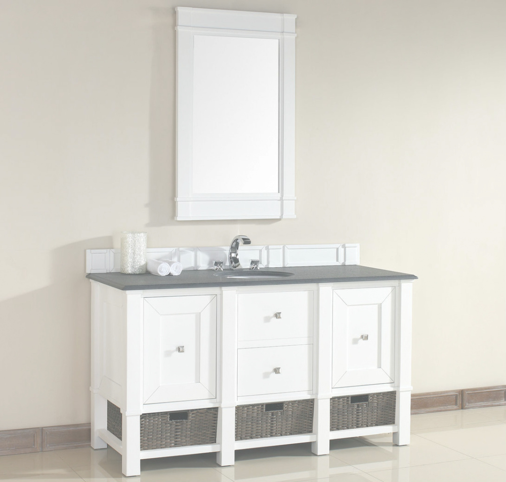 "Elite James Martin Madison Collection 60"" Single Vanity, Cottage White regarding Bathroom Vanity 60 Single Sink"