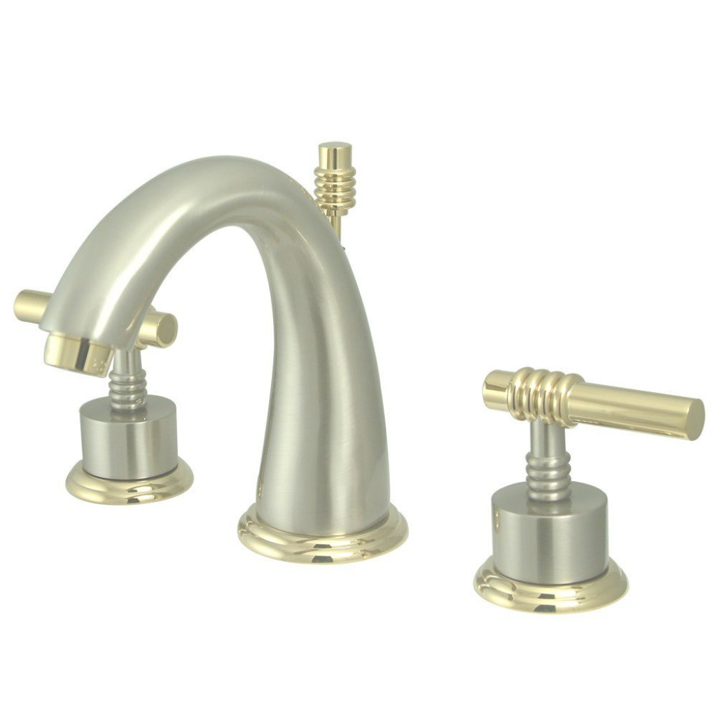 Elite Kingston Brass Milano 8 In. Widespread 2-Handle Mid-Arc Bathroom for Inspirational Satin Nickel Bathroom Faucet