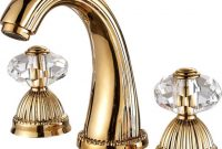 Elite Larissa Widespread Bathroom Lavatory Sink Faucet Crystal Handles with Gold Faucet Bathroom