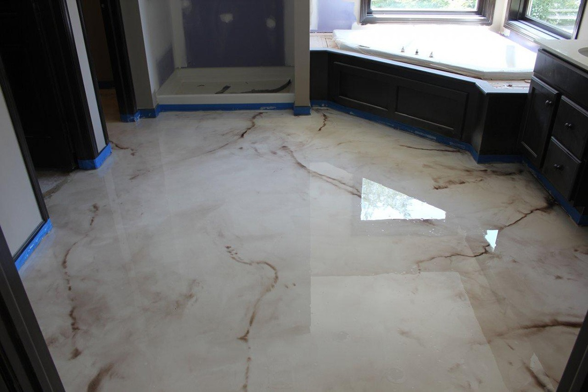 Elite Liquid Marble - Epoxy Coat Texas - Houston Epoxy Flooring with Beautiful Epoxy Bathroom Floor